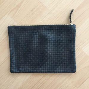Clare Vivier Flat Basketweave Clutch (Black)